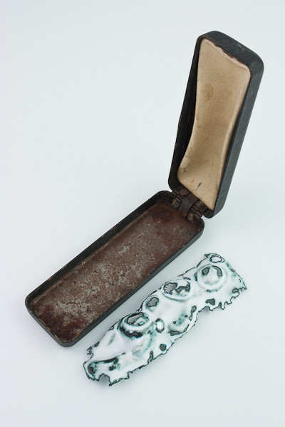 Clare Finin, Memory Trace: Amber Bracelet, Copper, enamel, found object