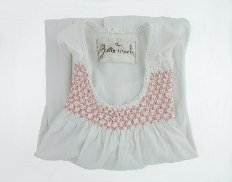 Clare Finin, A Parent's Label, Childhood nightgown, human hair