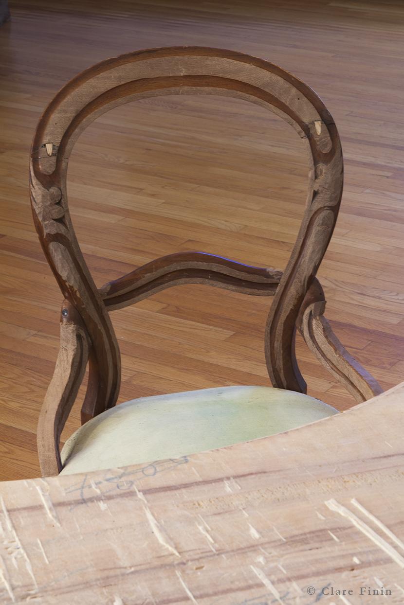 Clare Finin, contemporary art, decoration, decorative art, decorative arts, removal, antique, chair, antique chair, memory